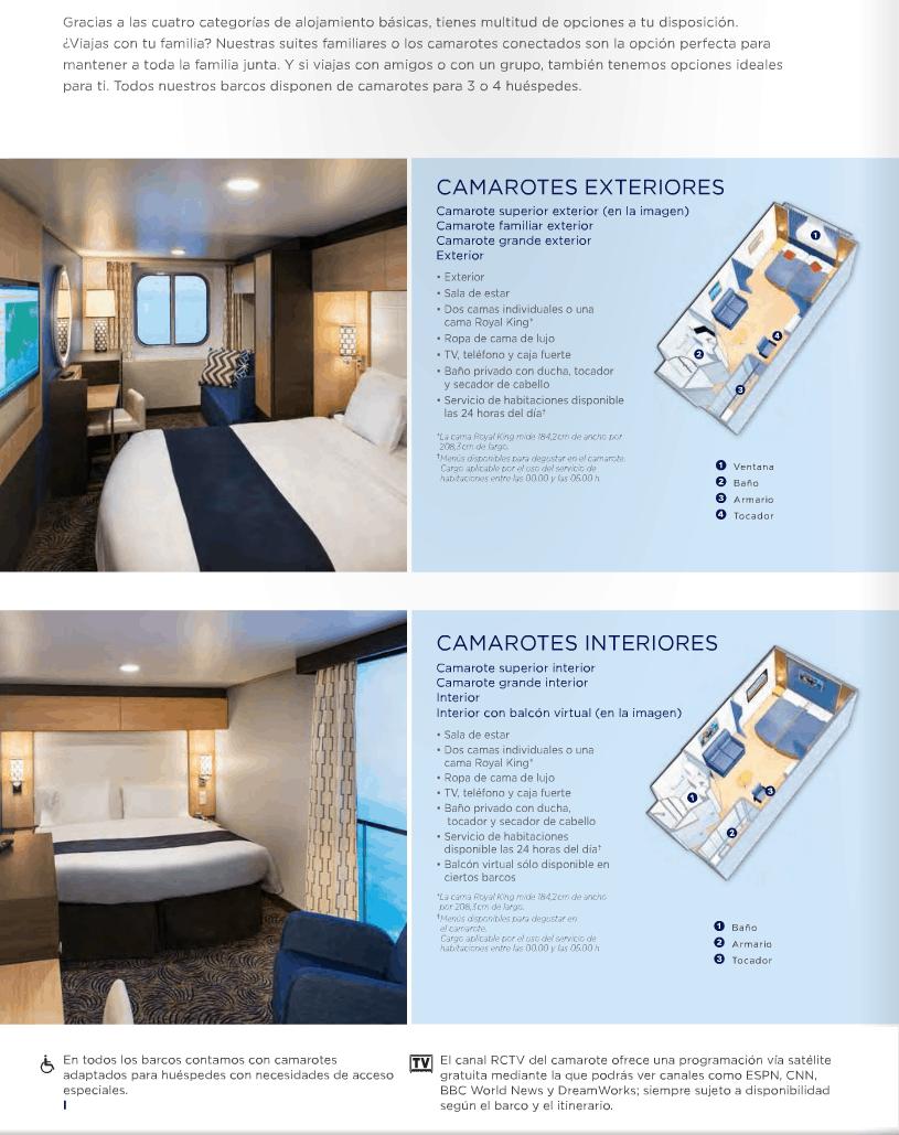 Tipos de cabinas - Royal Caribbean