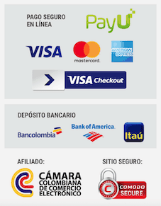 Medios de pago: tarjeta de crédito, PSE, efectivo, Bancolombia. Cámara Colombiana de Comercio Electrónico, Comodo Secure