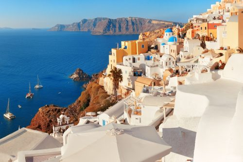Canva Santorini Skyline In Greece - Grecia - Islas Griegas