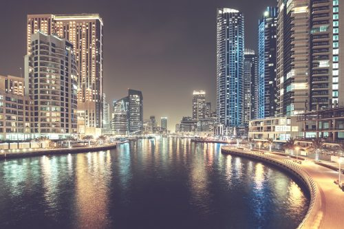 Dubai Marina At Night, United Arab Emirates.