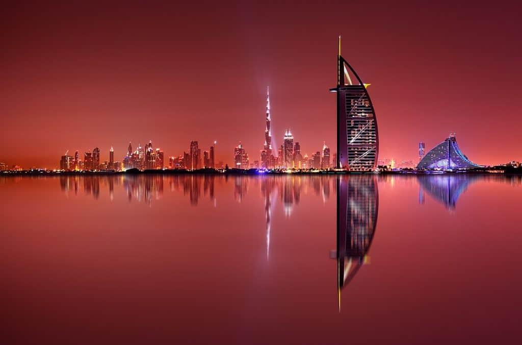 Dubai skyline reflection at night, Dubai, United Arab Emirates