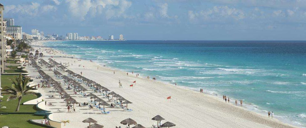 High Angle View of the Beach in Cancun Mexico