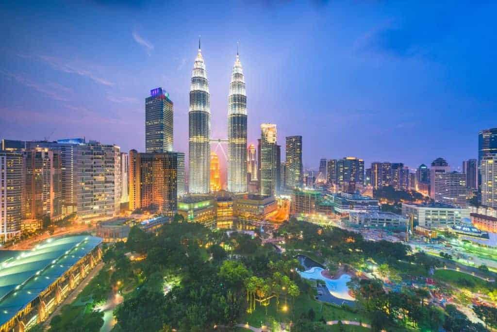 Kuala Lumpur, Malaysia park and skyline. Vietnam