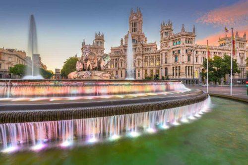 Madrid, Spain At Plaza De Cibeles.