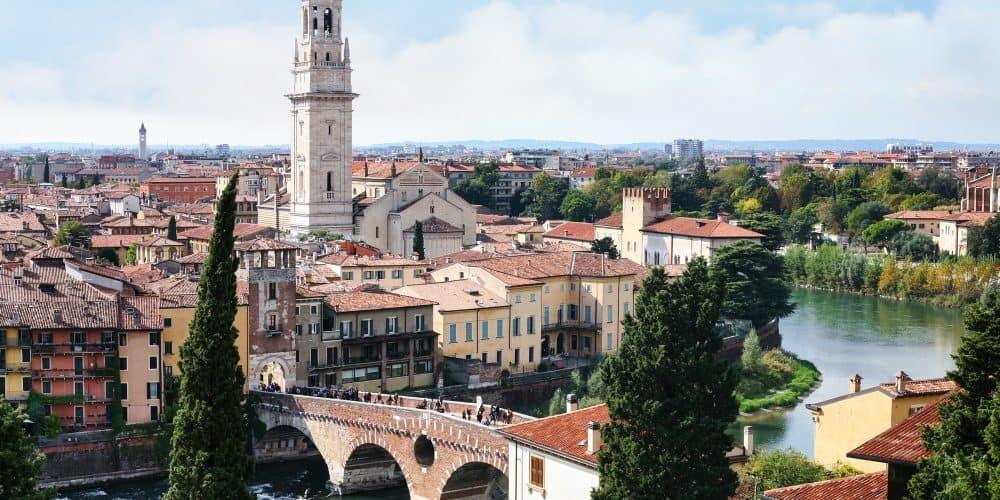 view of Verona city from Castel San Pietro