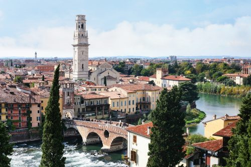 view of Verona city from Castel San Pietro