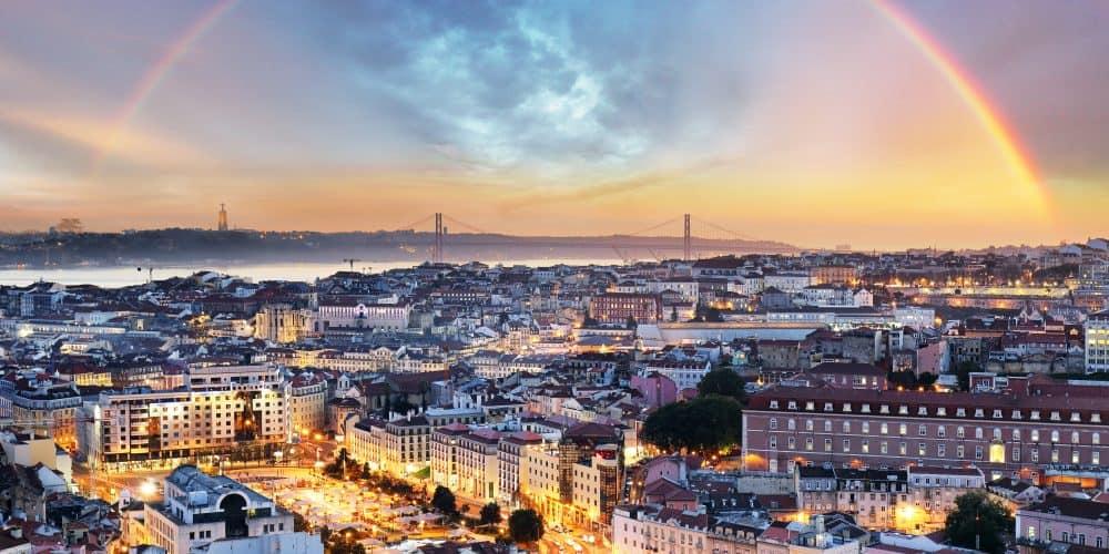 Canva Lisbon With Rainbow Lisboa Cityscape Portugal - España Portugal Marruecos 16 Días / 15 Noches
