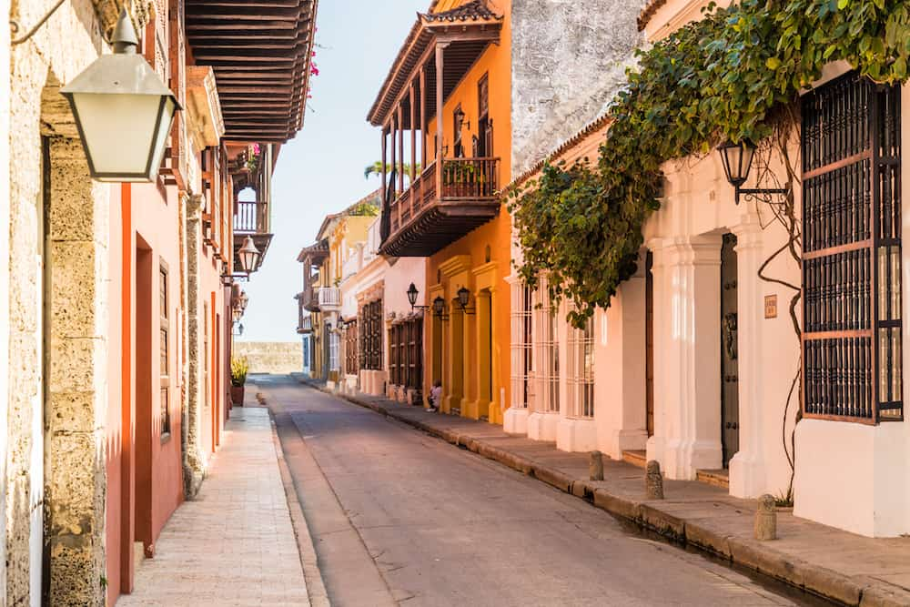 Cartagena, Colombia. march 2018. A view of a typically colourful street in Cartagena Colombia.