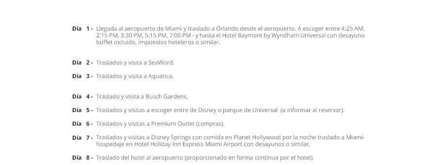 Itinerario Florida 8D 7N Min - Florida Mágica 7 Noches - 8 Días Con Disney O Universal