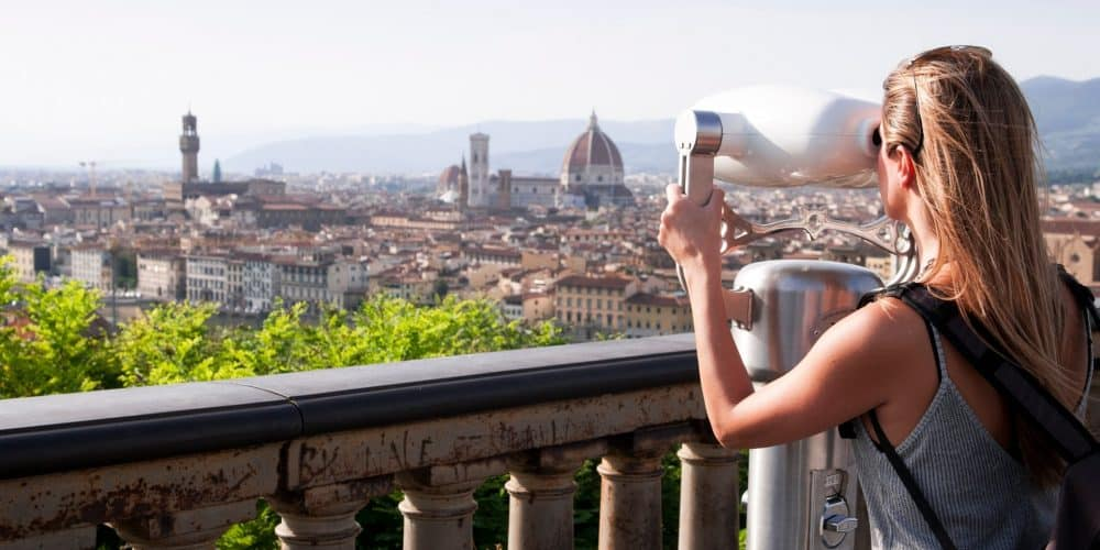Tourist Enjoys Awesome Views Offered By The City Of Florence T20 W7RGAY Min 1000x500