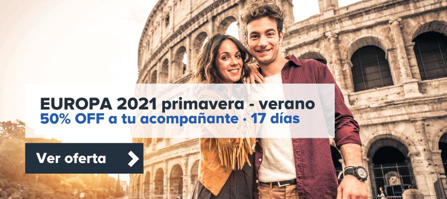 Europa 2021 Primavera Con Descuento - Europa 17 Días Con 50% Off A Acompañante