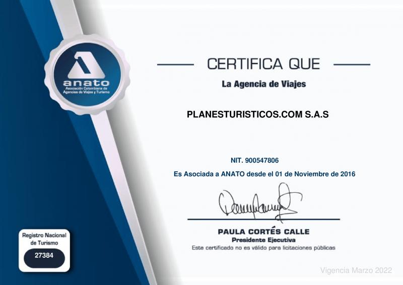 Certificado Anato Planesturisticos.com - La Empresa