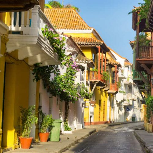 View of a beautiful colonial street in Cartagena, Colombia
