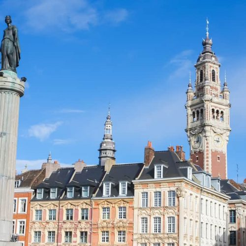 Chambre of Commerce and Statue and Column of Deesse (1845) in Lille, France.