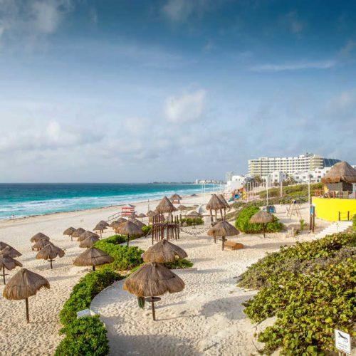 Sandy beach in Cancun, Mexico