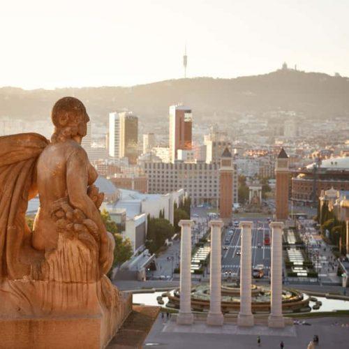 The landmark Placa Espanya with sculpture in Barcelona Spain