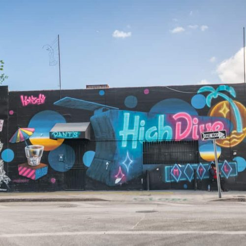 MIAMI - MARCH 29, 2018: The Wynwood Design District in Miami. Wynwood features one of the largest open-air street art installations in the world.