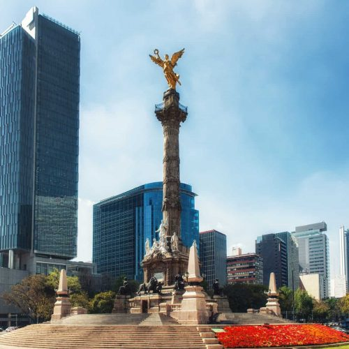 The Angel of Independence,   officially known as Monumento a la Independencia  is a victory column on a roundabout on the major thoroughfare of Paseo de la Reforma in downtown Mexico City.